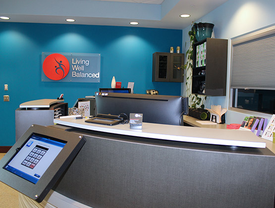 Front desk at Living Well Balanced in Raleigh NC